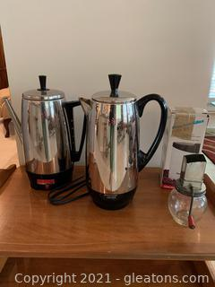 2 Stainless Steel Coffee Makers with Grinders