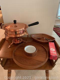Metal Fondue Pot, Party Platter and Nut Server