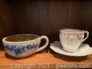 Salmon Falls Stoneware Soup Mug & Teacup & Saucer (Lot of 3)
