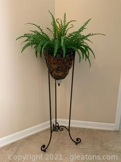 Grand Plant Stand W/ Artificial Fern