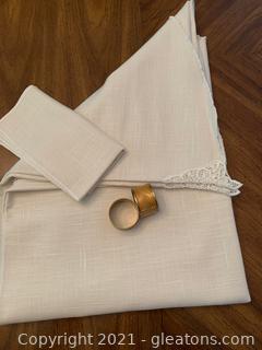 Cream Linen Oblong Table Cloth W/ 8 Napkins & 8 Brass Napkin Rings
