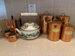 Tea & Canisters (Lot of 8)