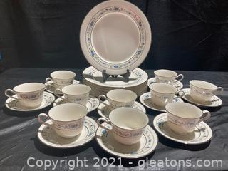 """""""Norma"""" By Noritake 7' Dinner Plates with 10 Cups and Saucers"""
