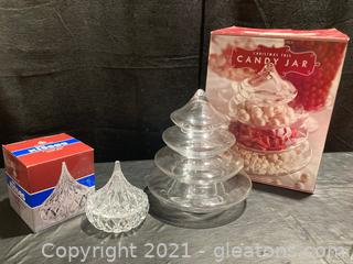 Festive Williams-Sonoma Christmas Tree Candy Jar and Godinger Hersey Kiss Candy Dish