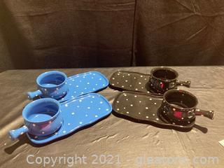"Adorable Polka Dots ""Temp-Tations"" Presentable Ovenware Soup/Sandwich Bowl/Plate by Tara, Set of 4"