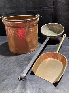 Hammered Copper Handled Can, Long Handled Ladle ,Fireplace Shovel