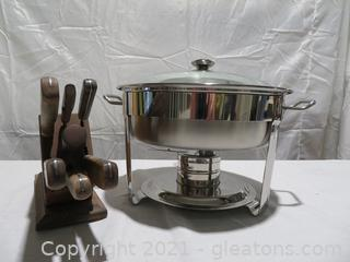New In Box Commercial Chafing Dish and Case Kitchen Knife Set In Walnut Block
