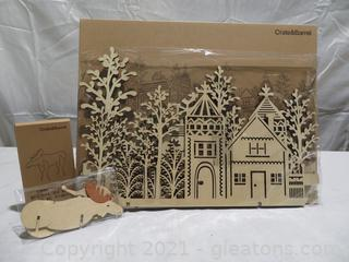 New in Box Crate and Barrel 3 Piece Wood Village and Moose