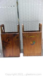 2 Farmhouse Multiuse Wooden Boxes with Handles