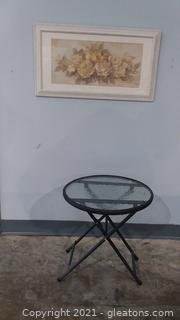 Charming Rose Picture and Small Glass Top Round Table
