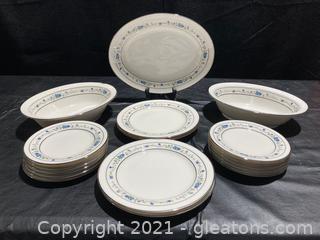 """Norma"" by Noritake Beautiful Blue Floral Pattern, (2) Veg. Bowls, (1) Platter, (4) Salad Plates (12) Dessert Dishes"