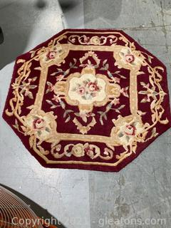 Lot of 2 Heavy Wool Rugs Rectangular and Octagonal Shape