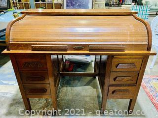 6 Drawer Wood Roll Top Desk