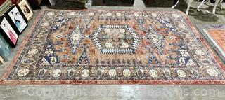 Inviting Red/Blue Patterned Rug