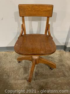Enduring Rolling Wood Desk Chair