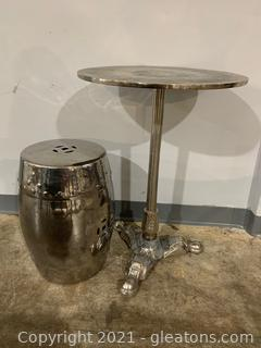Metal Pedestal Silver Accent Table with Stool