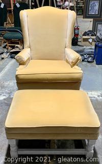 Attractive Wingback Chair + Ottoman