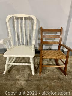 2 Child's Wooden Rocking Chairs