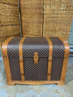 Polished Wood & Leather Storage Trunk