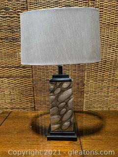 Silver Pebble Design Table Lamp
