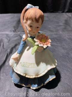 """Lefton Girl W /Flower, Figurine """"September"""""""