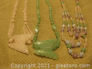 3 Pretty Jadeite Necklaces