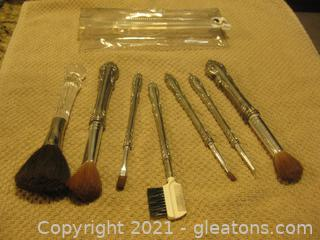 Vintage Silverplate Set of Makeup Brushes + One other brush