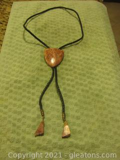 Unusual Men's Western Bolo Tie Made of Arizona Jasper-Petrified Wood