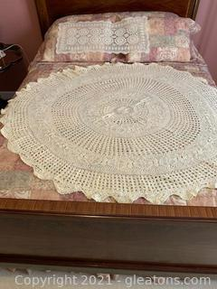 Lovely Round Crocheted Table Cover and Runner