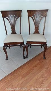 Pair of Tiger Oak Antique Claw Foot Dining Room Chairs