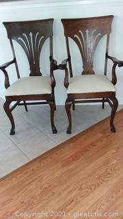 Pair of Tiger Oak Antique Claw Foot Captain's Chairs