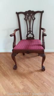Beautiful Carved Gothic Mahogany Chippendale Arm Chair