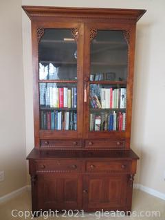 Gorgeous Antique Dark Oak Bookcase Cabinet (Contents Not Included)