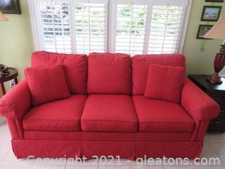 Delightful Red Ethan Allen Sofa