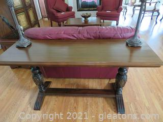 Stunning Antique Library/Sofa Double Trestle Table