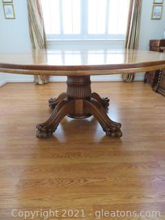 Elegant Oak Dining Room Pedestal Table