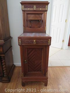 Impressive Marble Top, Antique Shaving Cabinet (A)
