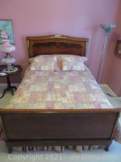 Majestic Queen Burlwood Bed Frame with Brass Detail; Mattress, Box Springs and Bed Linens