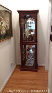 Mirrored Back Emperor Clock Co. Curio Cabinet (Contents not Included)