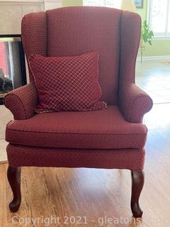 Queen Anne Wing Back Upholstered Arm Chair W/Accent Pillow