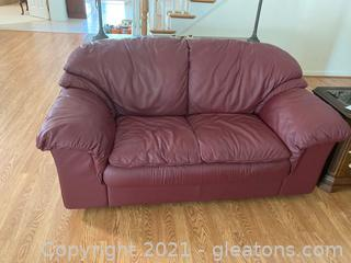 Deep, Plush Leather Highend Loveseat in Rich Burgundy