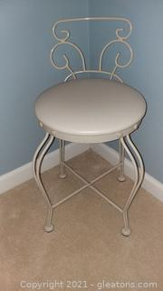 Petite Vanity Stool-Metal with Padded Seat