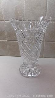 Beautifully Cut Lead Crystal Trumpet Vase
