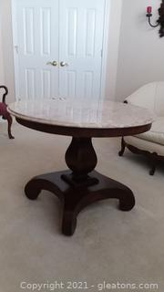Antique Empire Mahogany Marble Top Round Center Table
