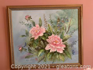 T.C. Chow Floral Painting in Gold Wood Frame