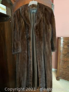 Rich's Fur Salon Chocolate Brown Long Mink Coat