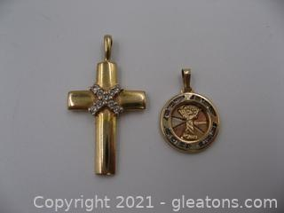 2 Yellow Gold Religious Pendants