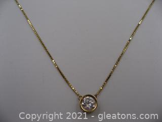 14kt Yellow Gold CZ Necklace