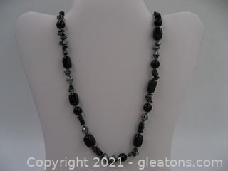 Onyx, Snowflake Obsidian, and Hematite Necklace