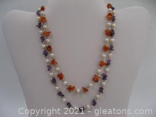 2 Freshwater Pearl and Gemstone Necklaces